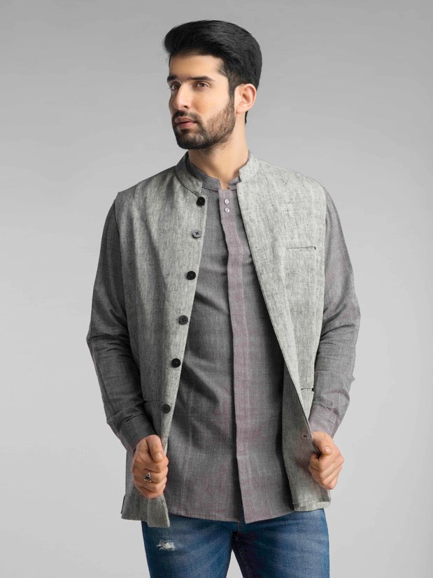 Grey Linen  Men's Jacket