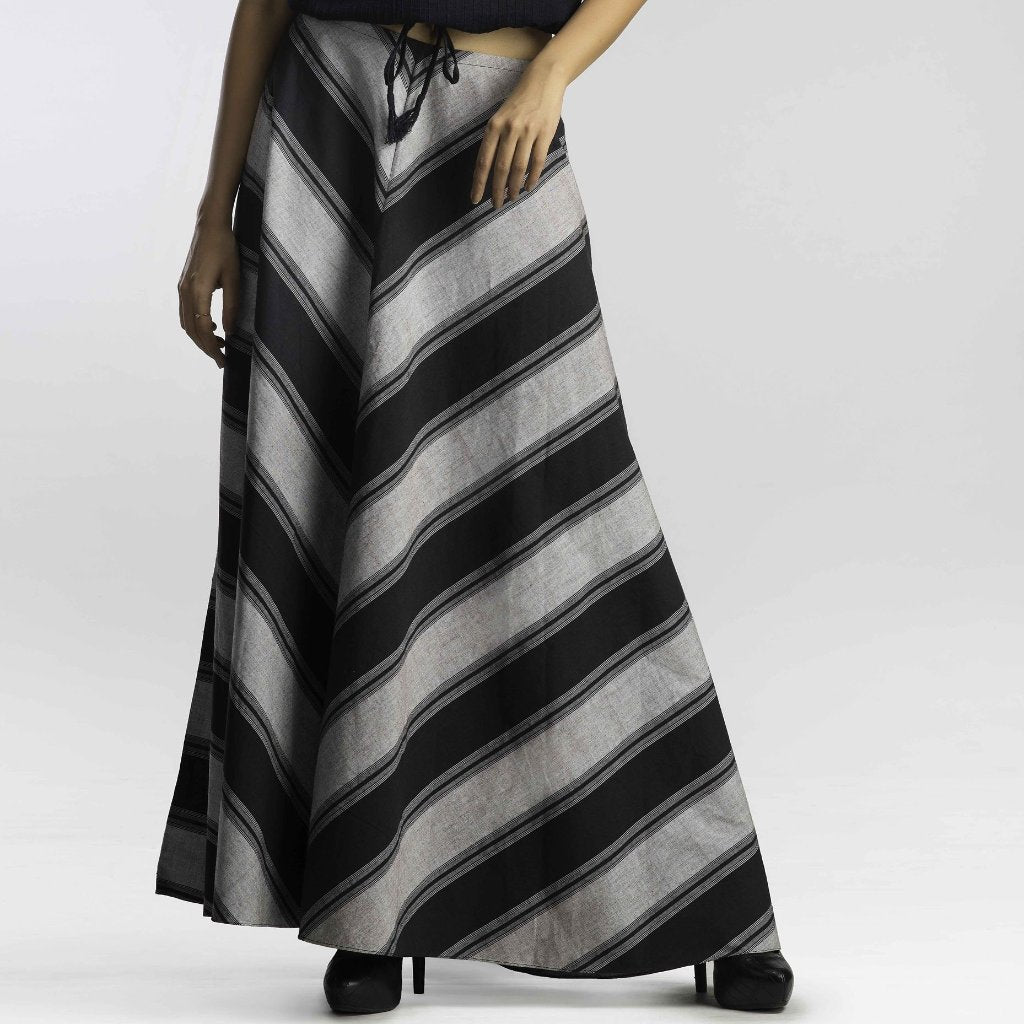 Black and Gray/Grey Long Skirt