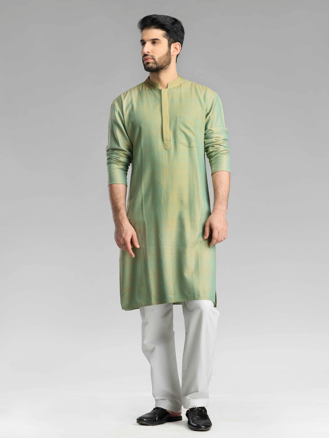 Orange Green  Long Kurta