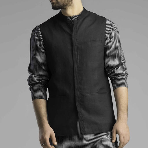 Black Linen Men's Jacket