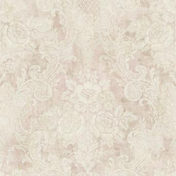 Rustic Painted Damask Wallpaper R4852