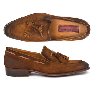 Paul Parkman Men's Tassel Loafer Brown Antique Suede Shoes