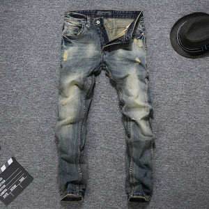 Men's Vintage Slim Fit Denim Classical Jeans