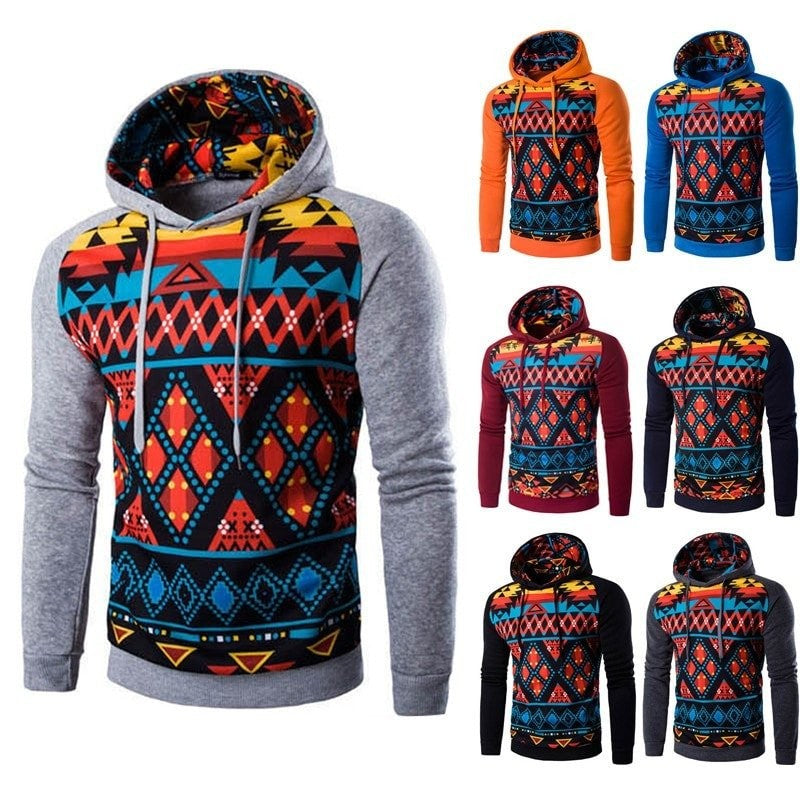 Tribal Colorful Geometric Print Hoodie