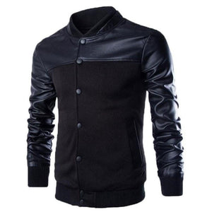 Men's Stylish Buttoned Leather Jacket