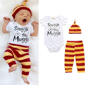 Baby Unisex T-Shirt Trousers and Hat Set - 3pcs