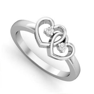 Silver Colour Alloy Dual Heart Ring