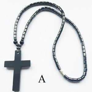 "Black 18"" Haematite Bead Cross Pendant Unisex Necklace - Scarlet Bloom"