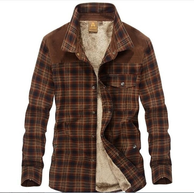 Men's Cotton Liner Casual Plaid Thick Shirt