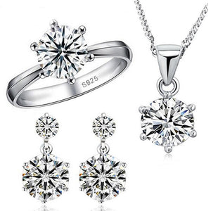 925 Sterling Silver Luxury CZ Diamond Necklace Earrings and Ring Wedding Jewelry Set