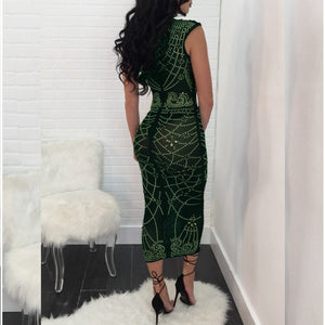 Mesh Patchwork Vintage Bodycon Printed Dress