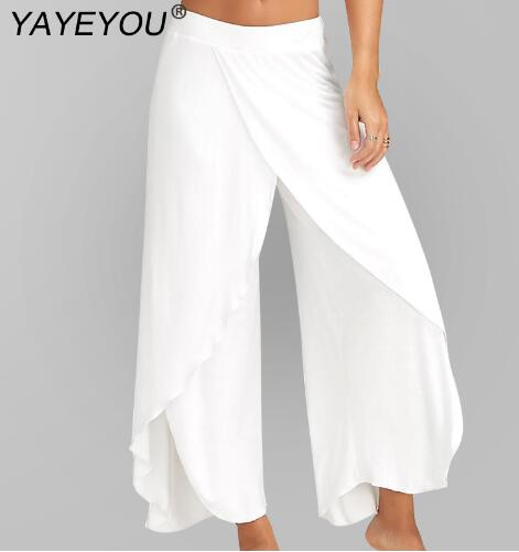 Women's Split Mid Waist Casual Beach Harem Trousers