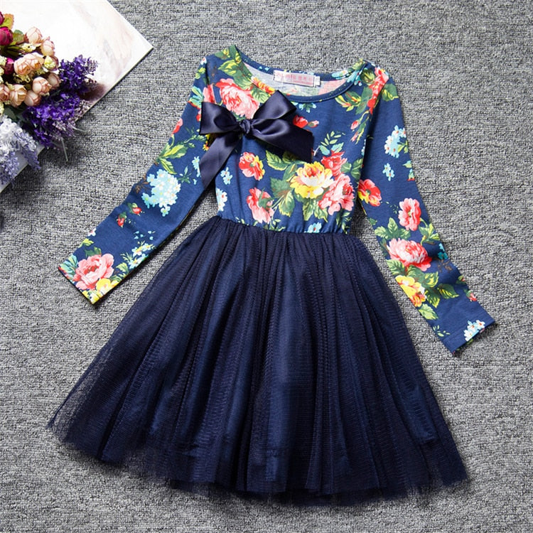 Gorgeous Girls Flower Pattern Dress