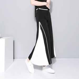 Patchwork Wide Leg Chiffon Long Trousers
