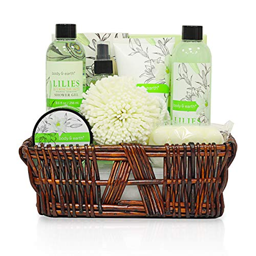 Body and Earth Spa Basket Bath Gifts Set for Her 10 Pieces