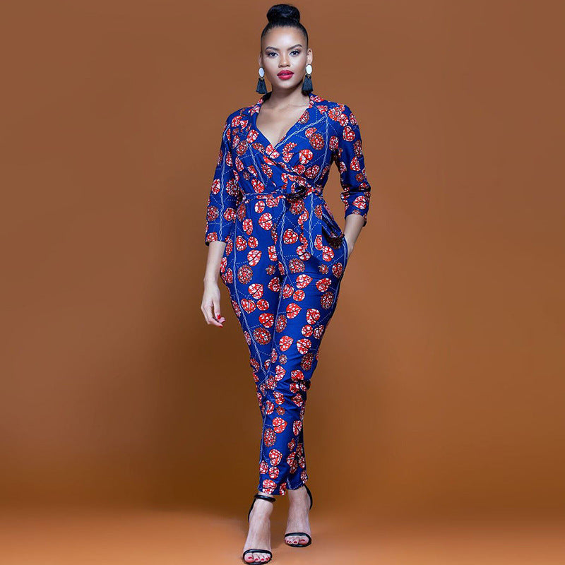 Women's African Print Casual Small Leg Slim Romper Jumpsuit