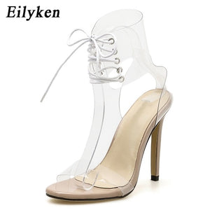 PVC Jelly Lace-Up Sandals Open Toed High Heels Sexy Women Transparent Heel Sandals Party Pumps 11CM Sales Promotion