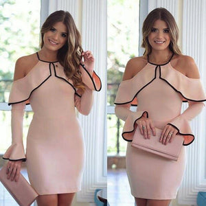 Ladies Flouncing Strapless Long Sleeve Evening Party Pencil Dress