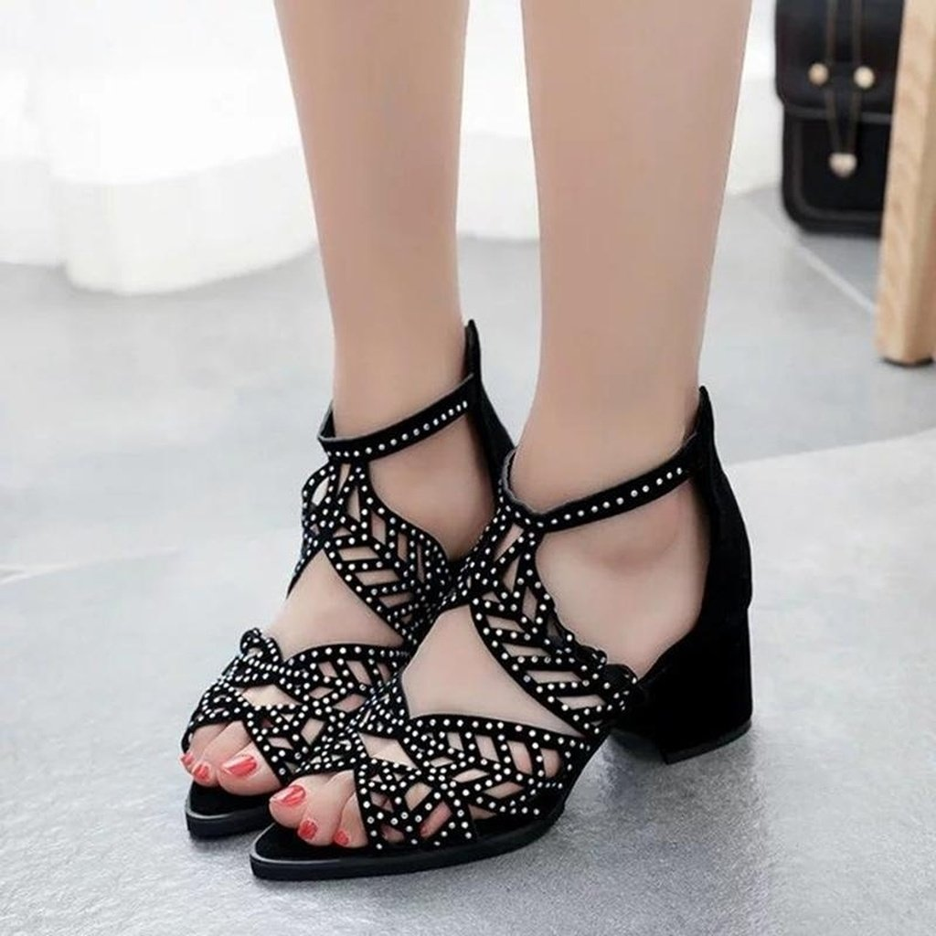 Women Rhinestones Patent Leather Sandals