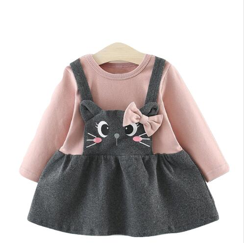 Girls Long Sleeve Dress with Bow Detail