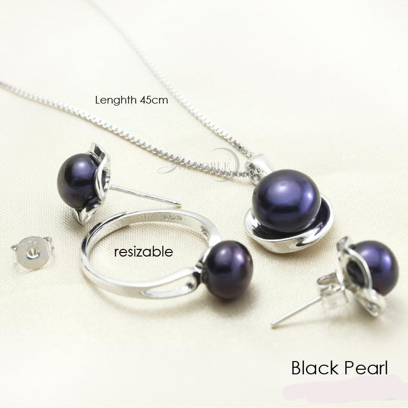 Real Natural Freshwater Pearl 925 Sterling Silver Necklace Earring  and Ring  Set