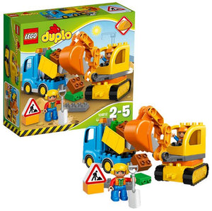 Lego Duplo Town Large Building Bricks Toy Truck and Tracked Excavator