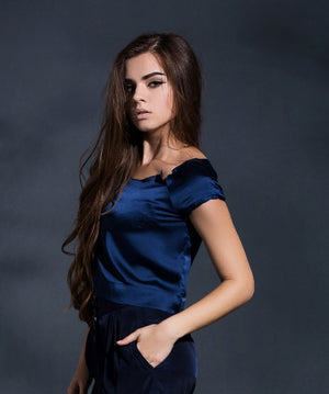 Reconstructed elegance cropped top in Navy Blue