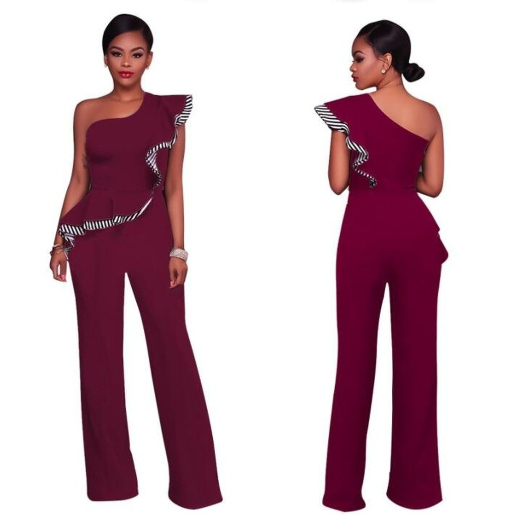 Women Sexy Sleeveless One Shoulder Bandage Party Shawl Jumpsuit