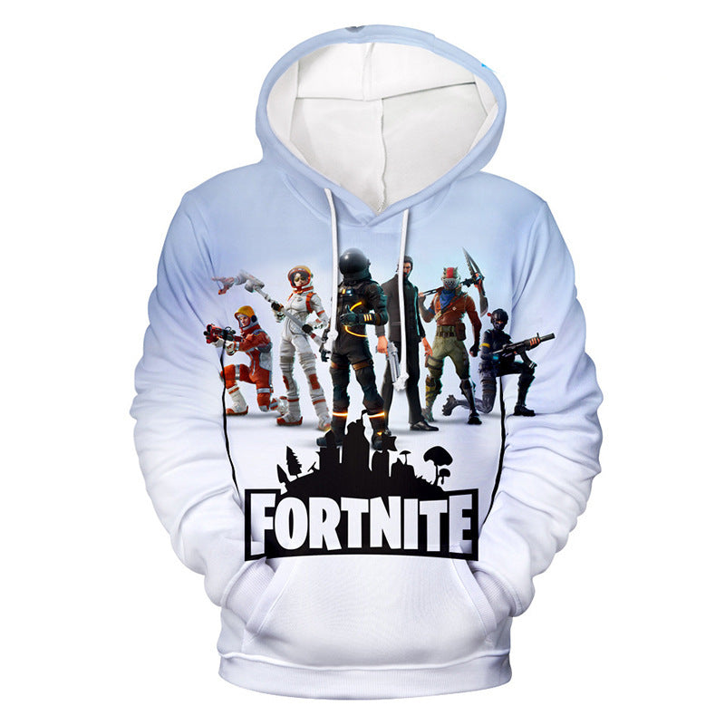 Fortnite Drawstring 3D Digital Printing Novelty Long Sleeve Hoodie Sweatshirt