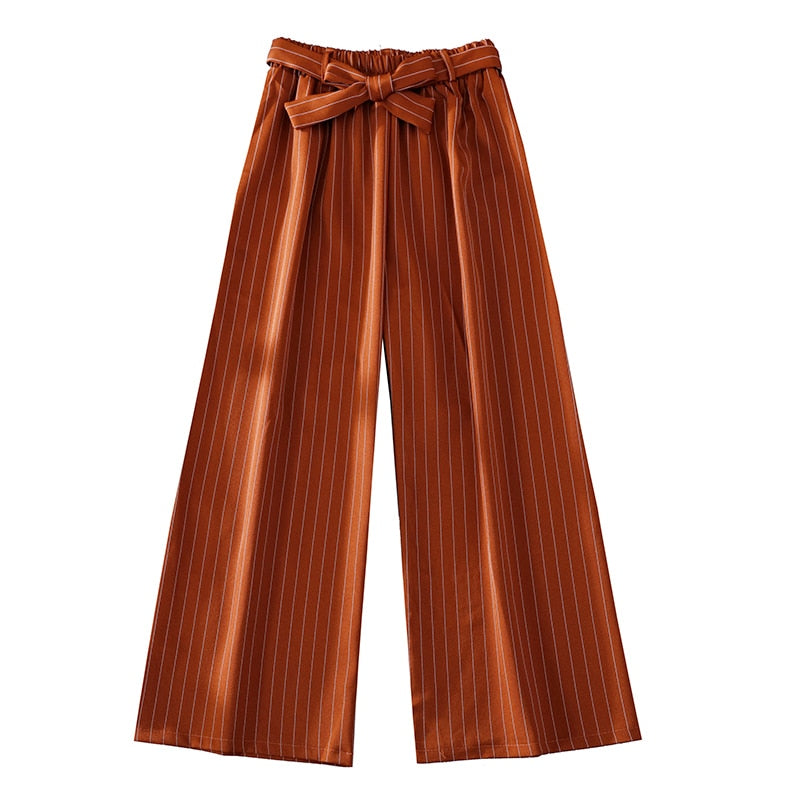 Women's Casual Striped Drawstring Bow Knot Urban Trousers