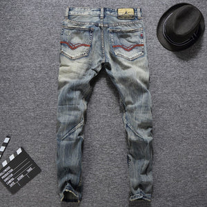 Men's Slim Fit Buttons Casual Ripped Jeans