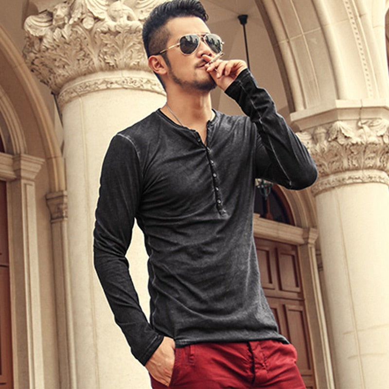 Brand Designer Men's Casual Cotton Vintage Henry Top