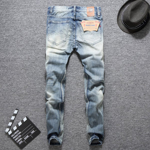 Men's Light Blue Slim Fit Classical Denim Jeans