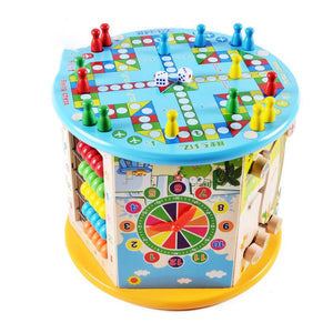 Wlove Travel 8 in 1 Wooden Activity Cube Bead Maze Multi-purpose Educational Toy