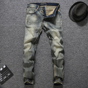 Italian Vintage Designer Men's Slim Fit Casual Jeans