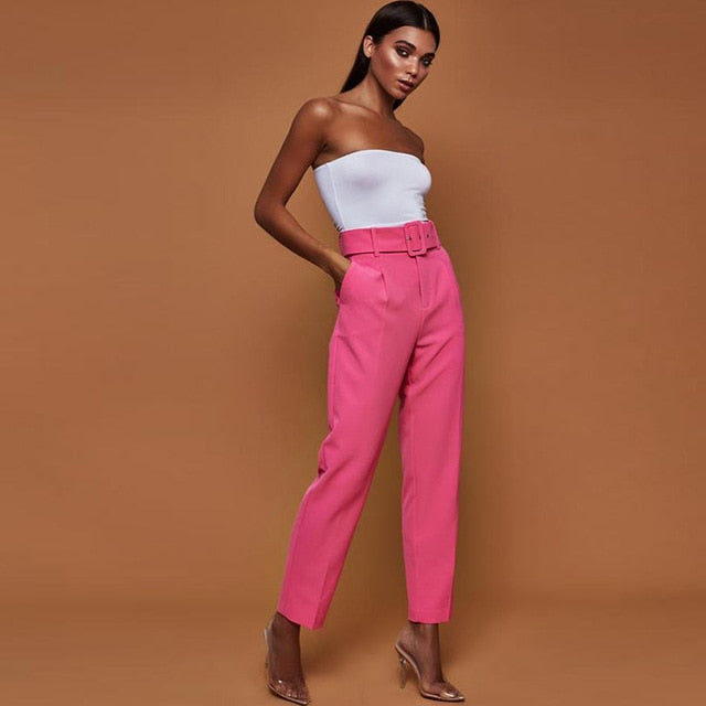 Ladies High Waist Belted Straight Leg Slacks Trousers