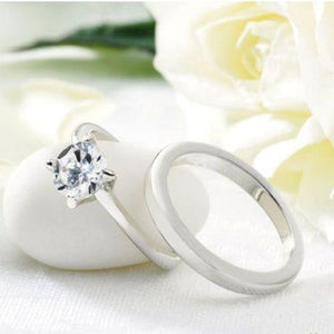 Diamondesque Wedding and Engagement Ring Set - Scarlet Bloom