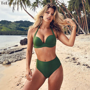 High Waist Bikini Halterneck Swimsuit Set