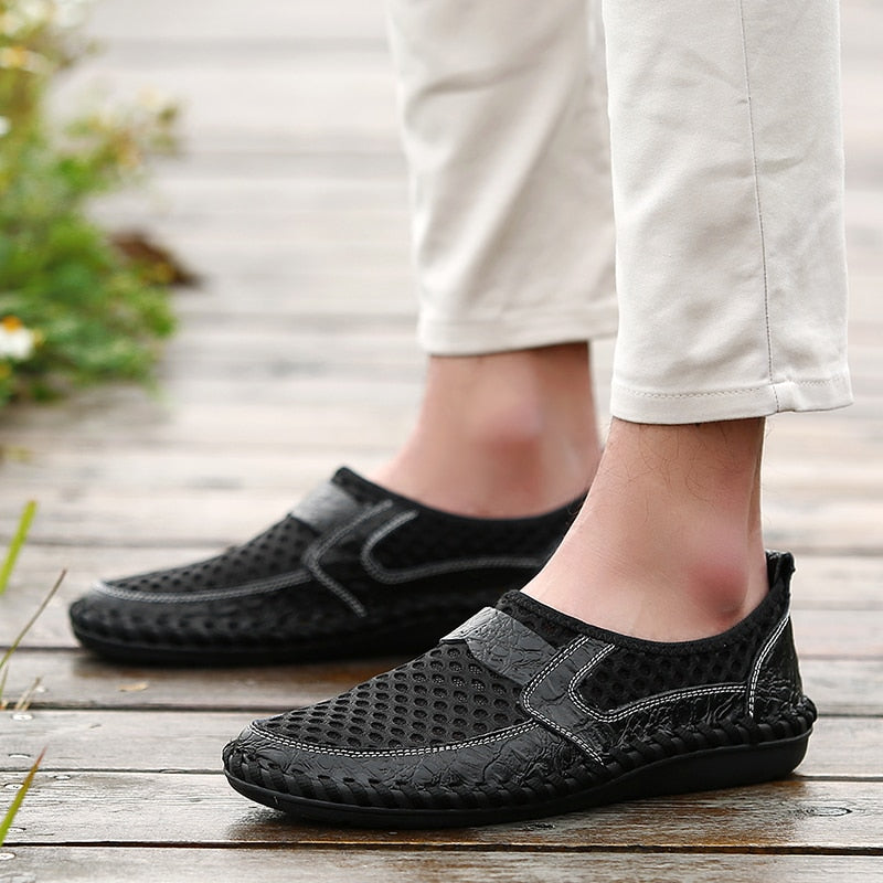 Men's Casual Breathable Mesh Italian Style Genuine Leather Loafer