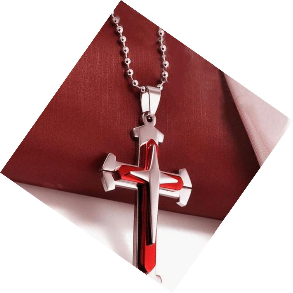 Unisex Stainless Steel Cross Pendant Necklace