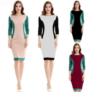 Women O-neck 3/4 Sleeve Patchwork Vintage Bodycon Dress