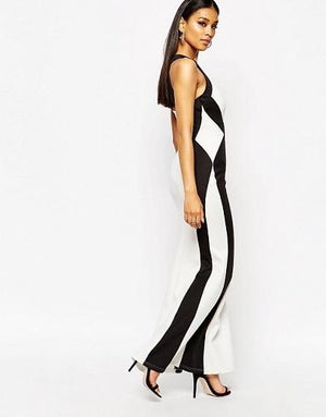 Beautiful Illusion Monochrome Maxi Dress with High Neck - Scarlet Bloom