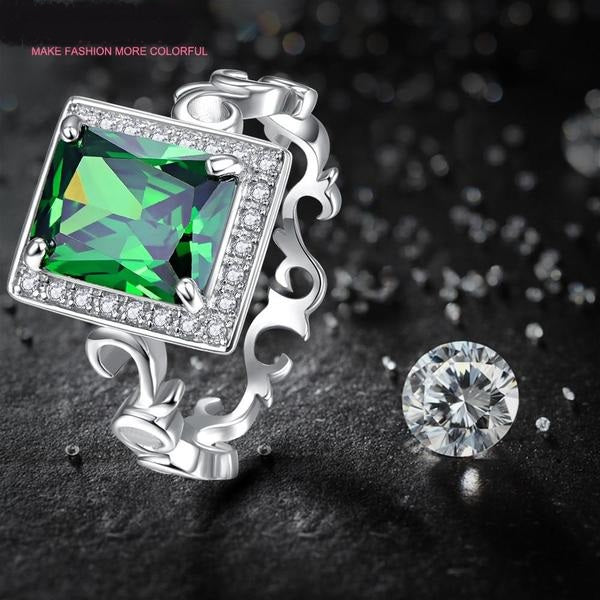 5.3CT Emerald Solid 925 Sterling Silver Elegant Wedding Ring for Women