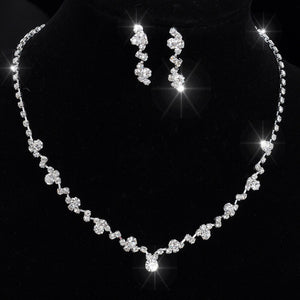 Bridal Rhinestone Silver Tone Tennis Choker Necklace and Earrings Jewellery Set