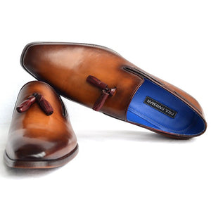 Paul Parkman Men's Tassel Loafer Walnut Leather Sole Shoes