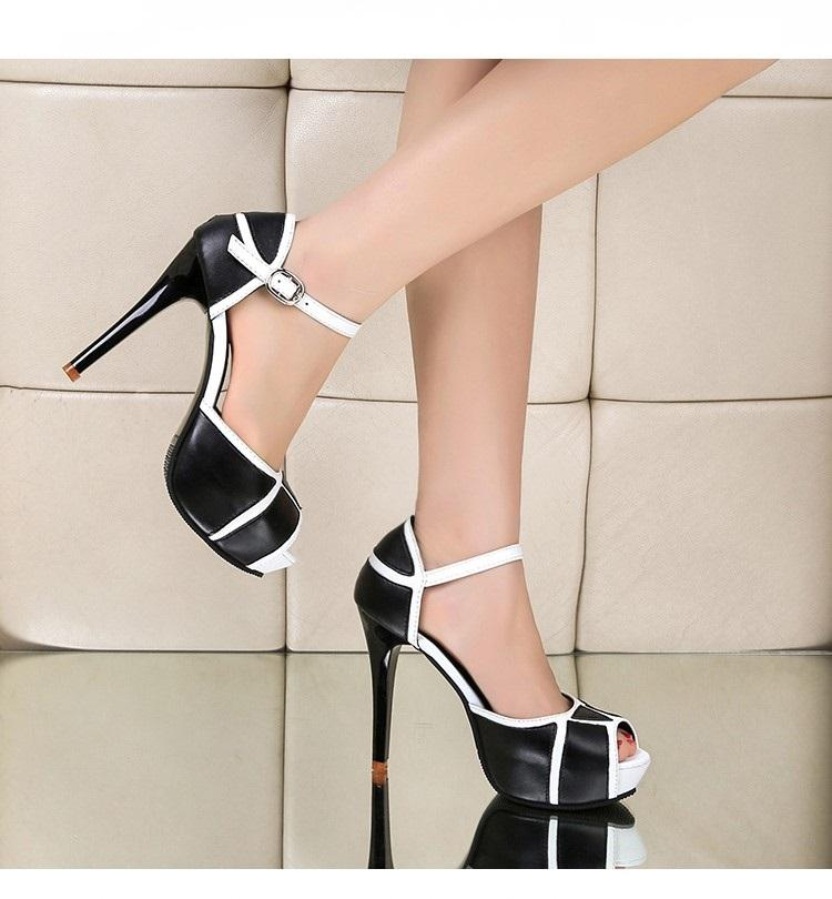 Hollow Buckle Women High Heel Peep Toe Shoes