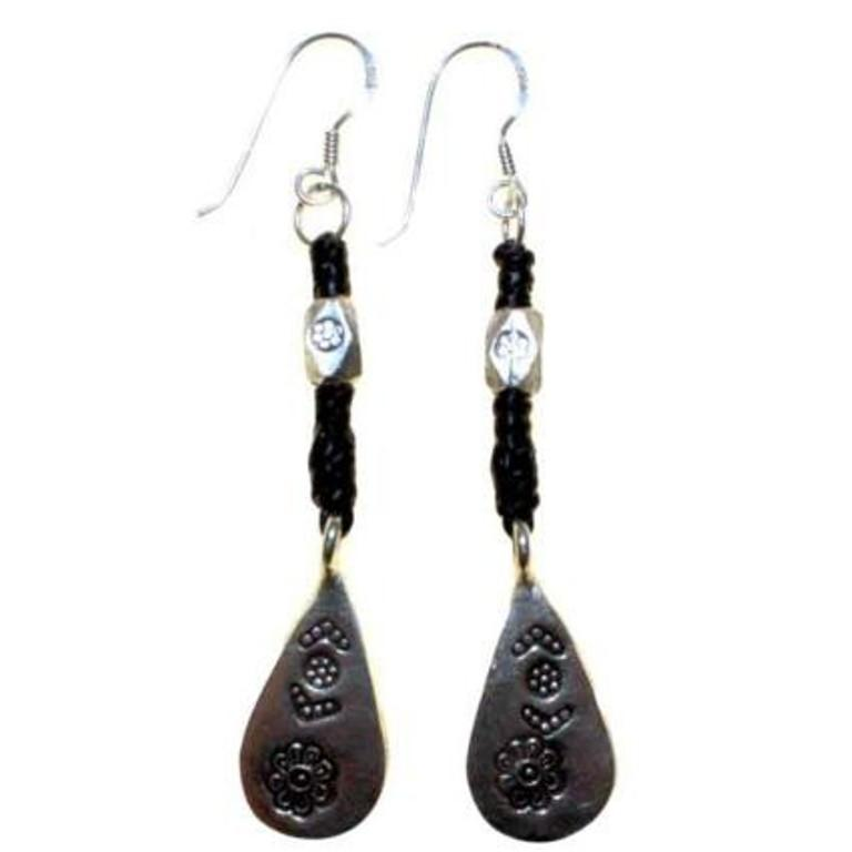Black Waxed and Silver Drop Earring - Scarlet Bloom