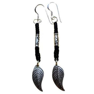 Black Waxed and Silver Feather Earring - Scarlet Bloom