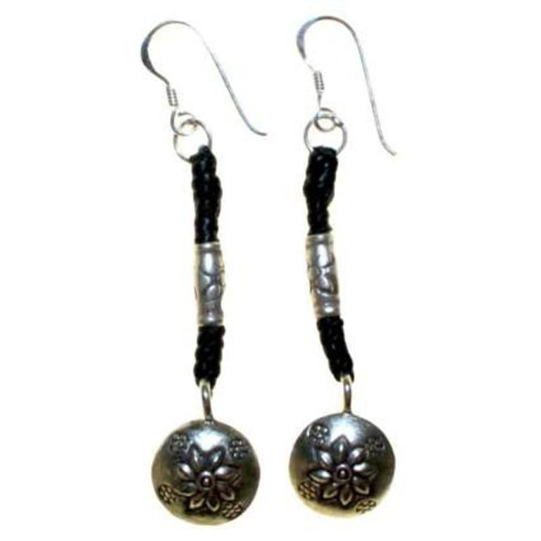Black Waxed and Silver Flower Earring - Scarlet Bloom