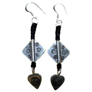 Black Waxed and Silver Heart Earring - Scarlet Bloom